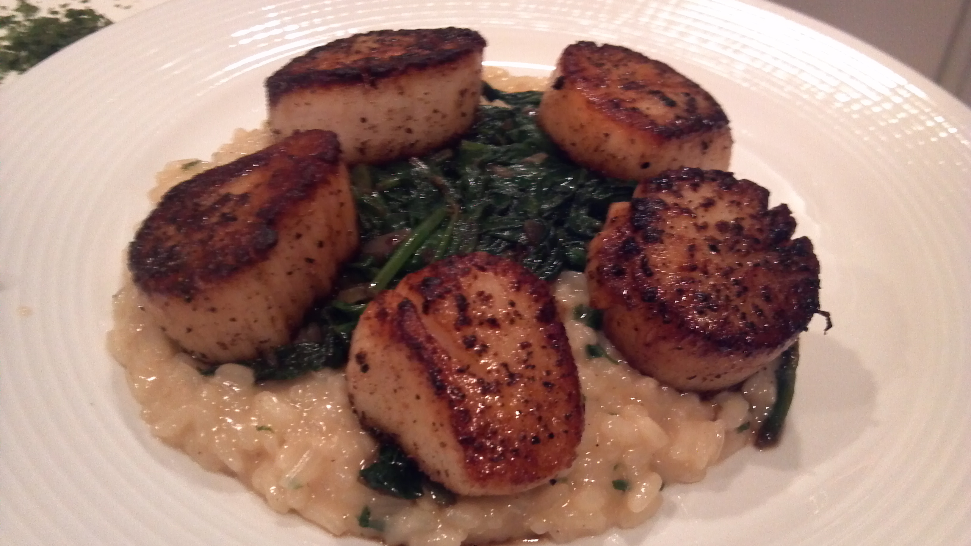 Pan Seared Sea Scallops with Parmesan Risotto and Wilted Spinach